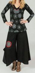 Pantalon large effet jupe ethnique Noir motifs rouge&gris Anton 273658