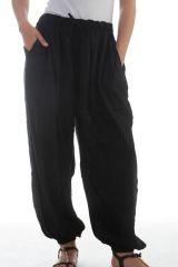 Pantalon large et froissé élastiqué taille et chevilles Noir Emy 297610