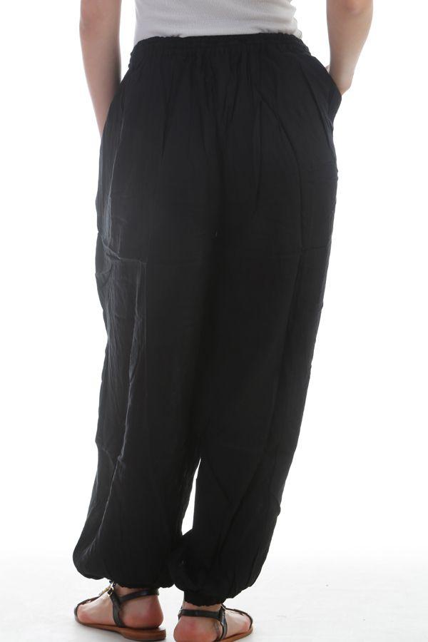 Pantalon large et froissé élastiqué taille et chevilles Noir Emy 297611