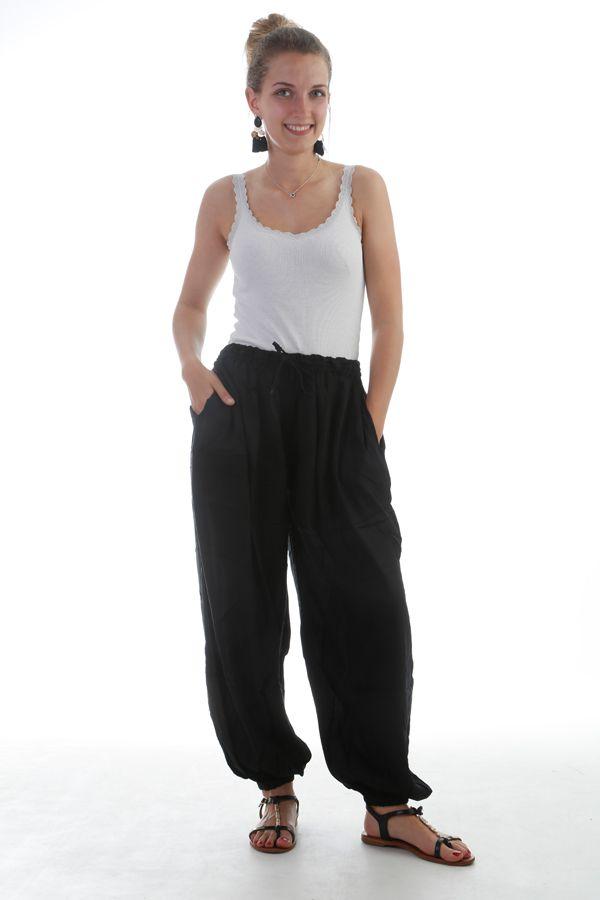 Pantalon large et froissé élastiqué taille et chevilles Noir Emy 297612
