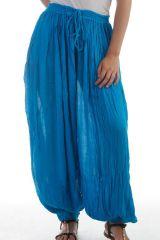 Pantalon large et froissé élastiqué taille et chevilles Turquoise Emy 297602