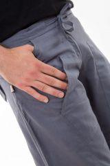 Pantalon large ethnique gris du Népal pour homme Duna