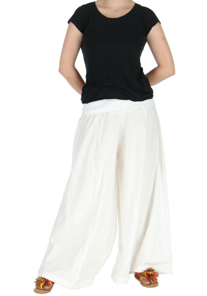 Pantalon large femme audrey blanc 262194