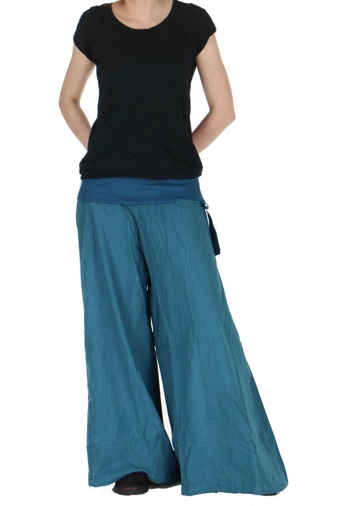Pantalon large femme audrey bleu 261148