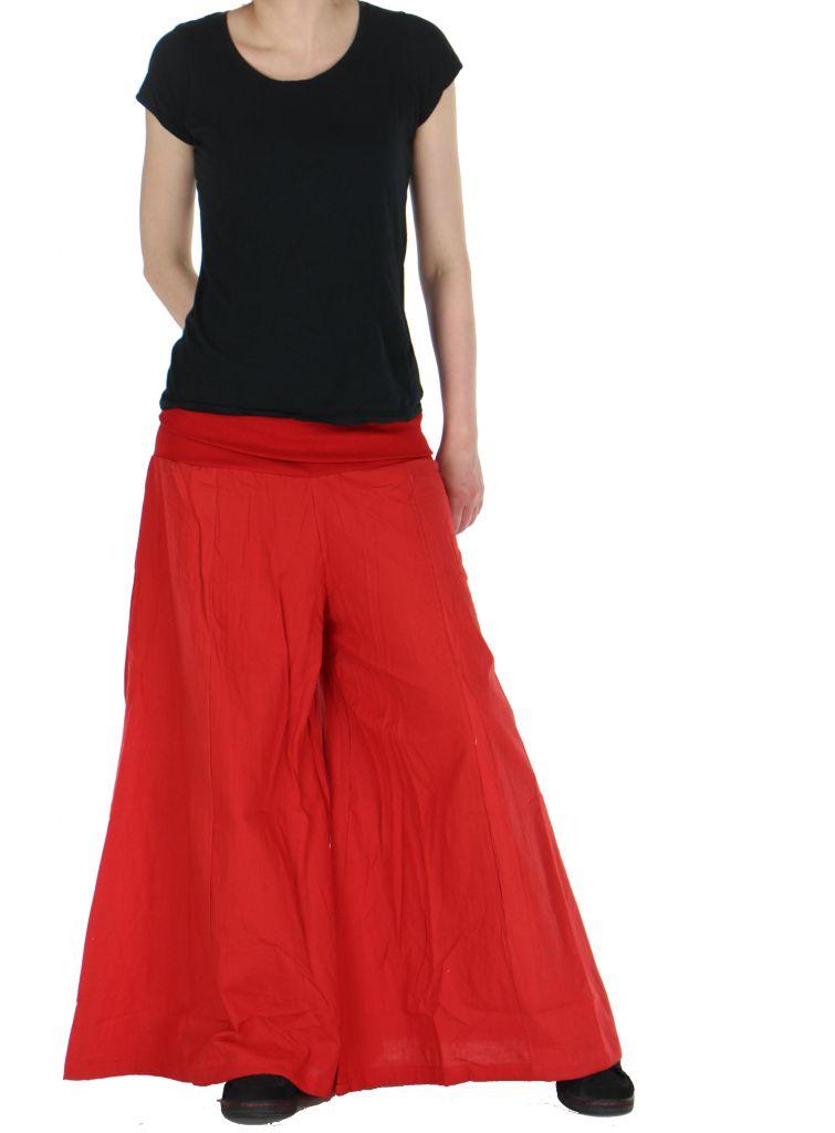 Pantalon large femme audrey rouge 261150