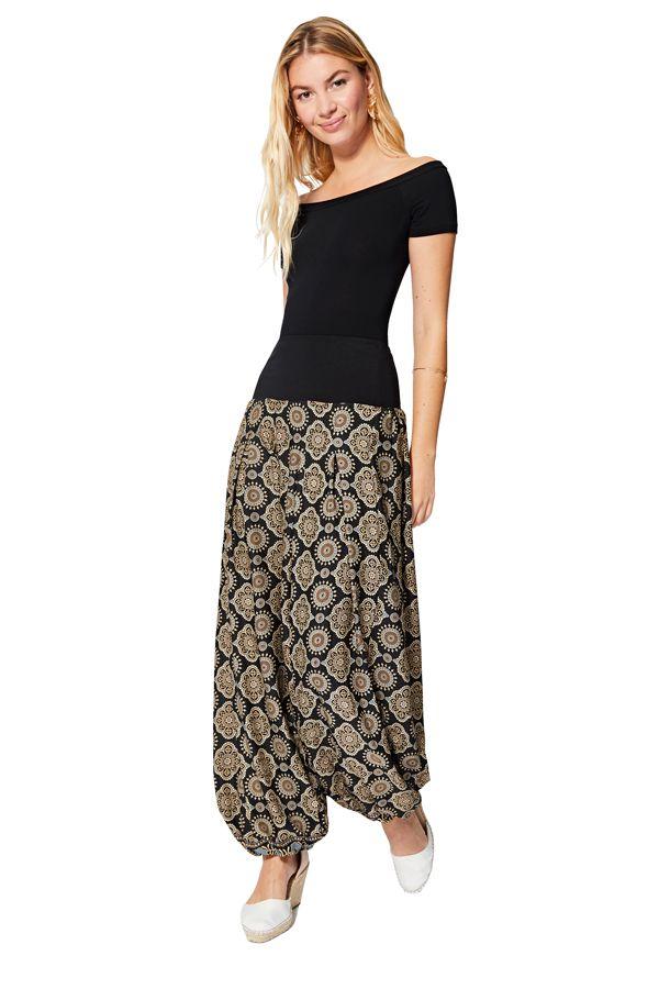 Pantalon large femme fluide et léger ethnique chic Arika