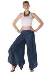 Pantalon large fluide avec des motifs ethnique bleu océan Shelby 288558