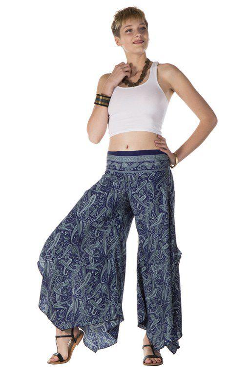 get new discount sale best deals on Pantalon large fluide avec des motifs ethnique bleuté Brooke