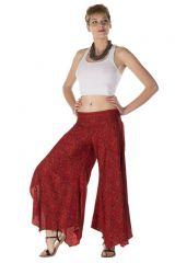 Pantalon large fluide avec des motifs ethnique rouge pétant Faith 288564