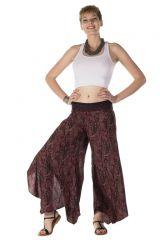 Pantalon large fluide bordeaux avec des motifs ethnique Adkins 288566