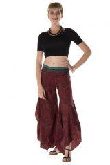 Pantalon large original avec des motifs ethnique bordeaux April 288541