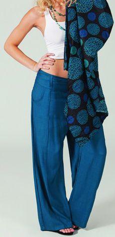 Pantalon large Pétrole pour femme Ethnique et Agréable Glenn 274717