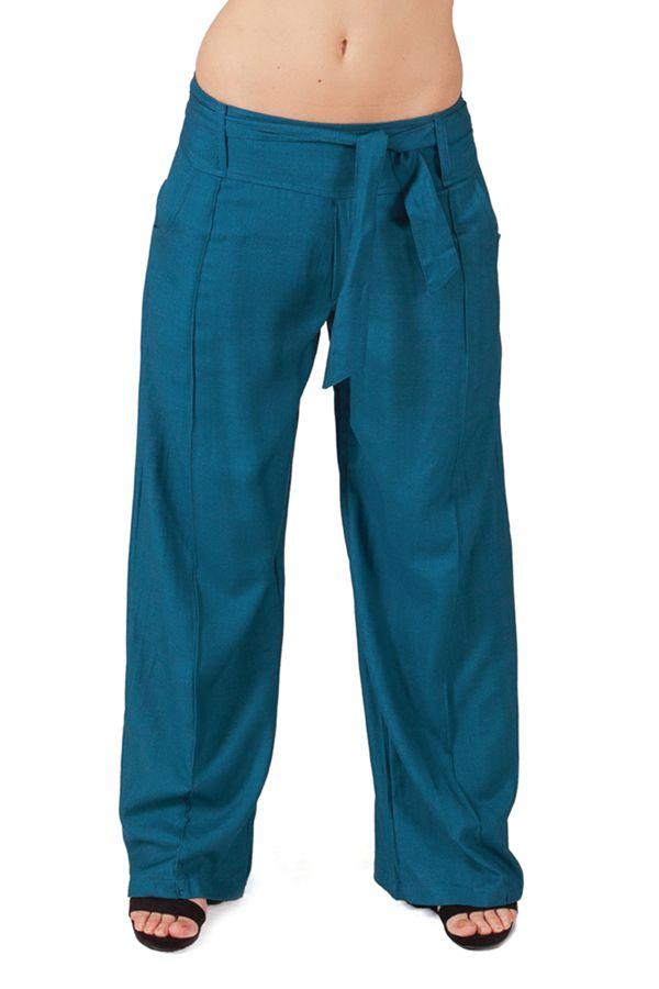 Pantalon large Pétrole pour femme Ethnique et Agréable Glenn 282273