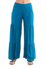 Pantalon large Pétrole style volants Ethnique et Coloré Donald 282345
