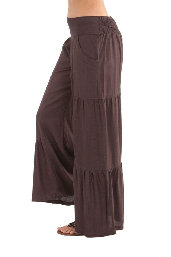 pantalon large pour femme a volants ethnique et original donald choco. Black Bedroom Furniture Sets. Home Design Ideas
