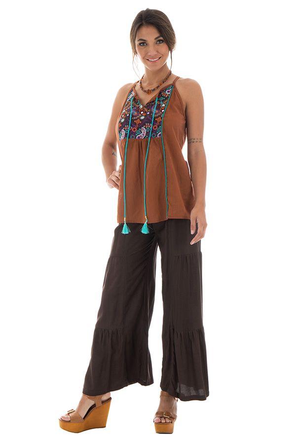 Pantalon large pour femme à volants Ethnique et Original Donald Choco 295370