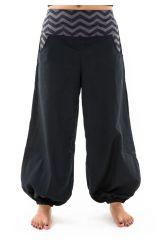 Pantalon large pour femme noir en coton épais Gulia 304682