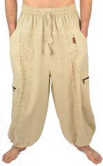 Pantalon large sarouel bouffant pour homme Aladin écru 304598