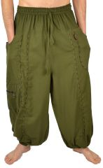 Pantalon large sarouel bouffant pour homme Aladin kaki 304596