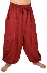 Pantalon large sarouel bouffant pour homme Aladin rouge