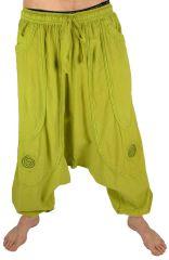 Pantalon large sarouel homme motif spirale Julian anis