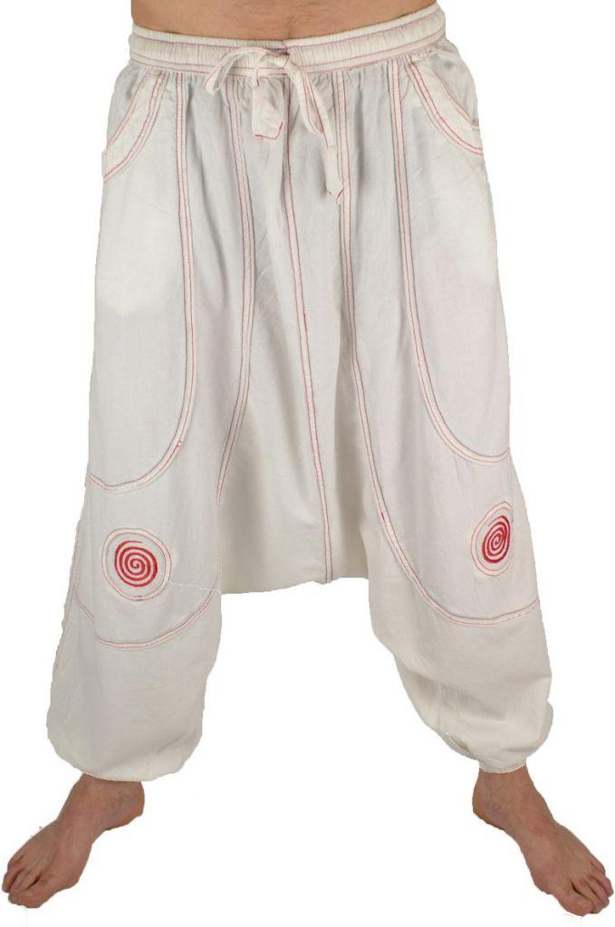Pantalon large sarouel homme motif spirale Julian blanc 304603