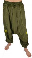 Pantalon large sarouel homme motif spirale Julian kaki
