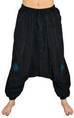 Pantalon large sarouel homme motif spirale Julian noir et bleu