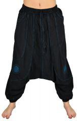 Pantalon large sarouel homme motif spirale Julian noir et bleu 304605
