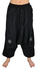 Pantalon large sarouel homme motif spirale Julian noir et gris