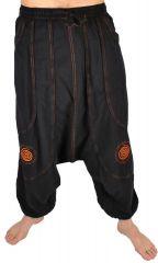 Pantalon large sarouel homme motif spirale Julian noir et orange