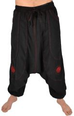 Pantalon large sarouel homme motif spirale Julian noir et rouge