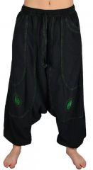 Pantalon large sarouel homme motif spirale Julian noir et vert