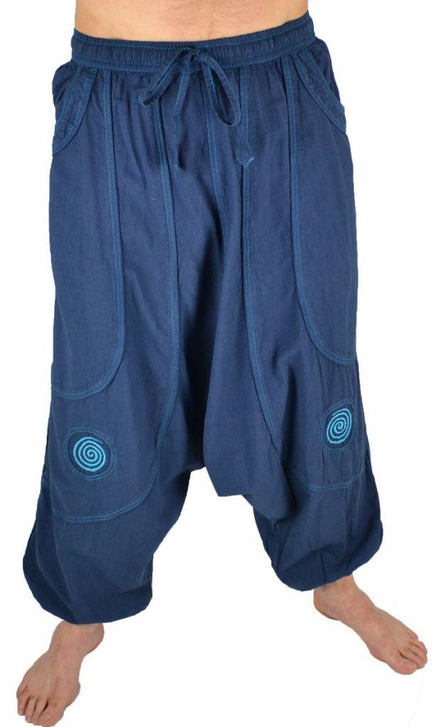 Pantalon large sarouel homme motif spirale Julian pétrole