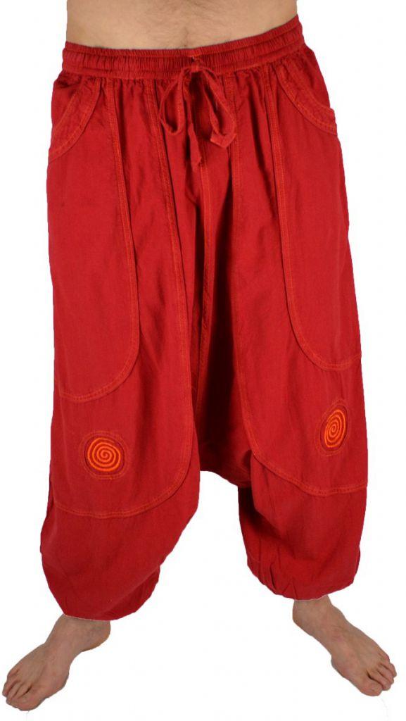 Pantalon large sarouel homme motif spirale Julian rouge