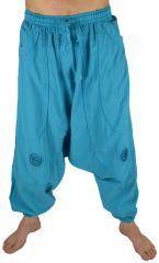 Pantalon large sarouel homme motif spirale Julian turquoise