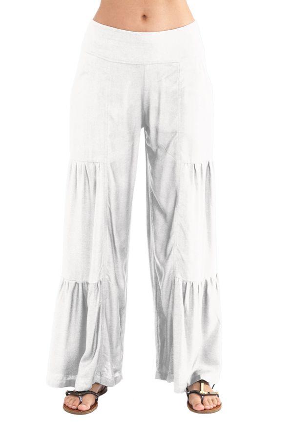 Pantalon large style volants Ethnique et Original Donald Blanc 282353
