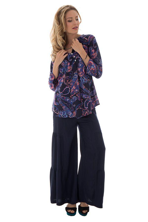 Pantalon large style volants Ethnique et Original Donald Bleu Marine 295373