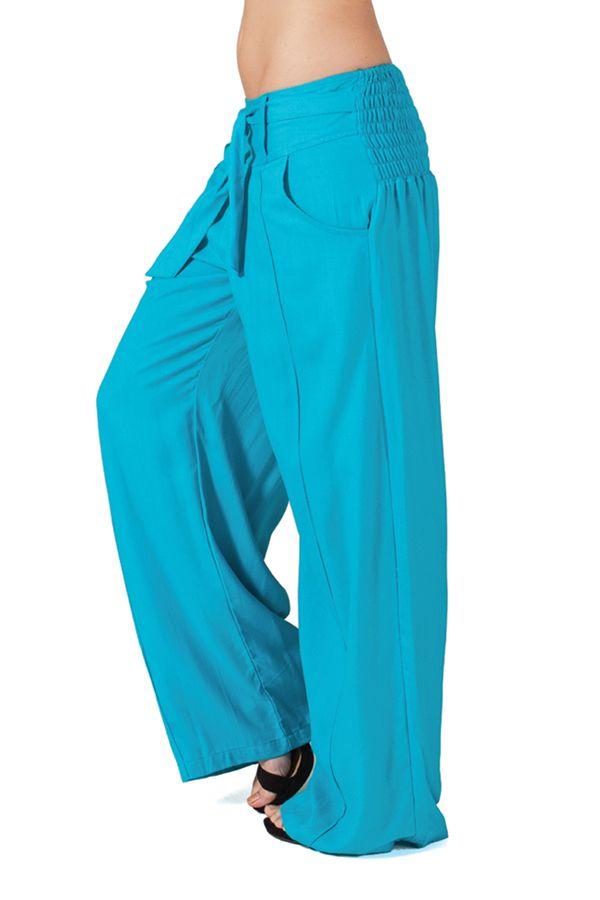 pantalon large turquoise agreable et original glenn pour femme. Black Bedroom Furniture Sets. Home Design Ideas
