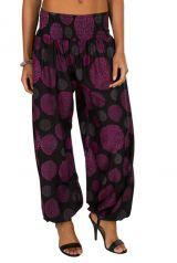 Pantalon look vintage avec imprimés violet Adaline 294954