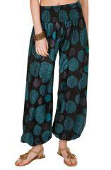 Pantalon look vintage décontracté avec imprimés bleus Adaline 294946