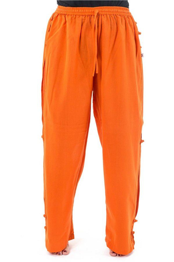 Pantalon mixte original large et droit de couleur orange Azuka 303976