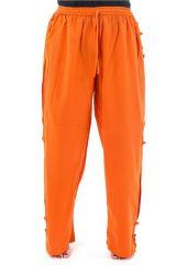 Pantalon mixte original large et droit de couleur orange Azuka 303976