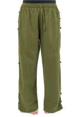 Pantalon mixte original style japonais de couleur uni kaki Azuka 303941