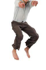 Pantalon mixte tendance mode japonaise de couleur chocolat Azuka 303971