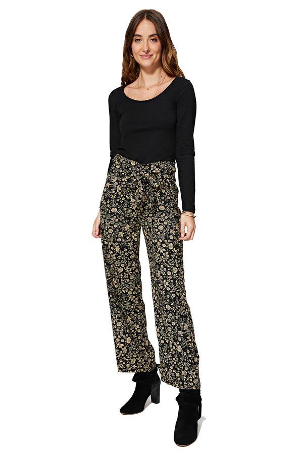 Pantalon noir femme taille élastique large fleurs Londyn