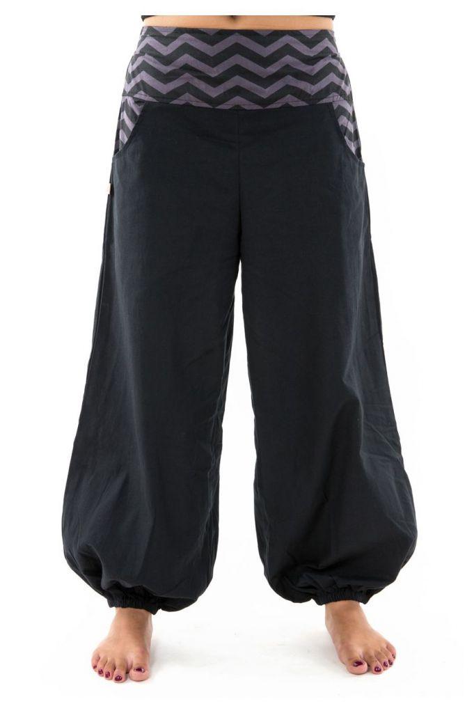 Pantalon noir large effet bouffant pour femme Minithia 305575