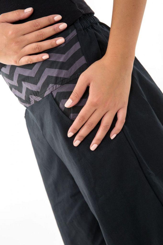 Pantalon noir large effet bouffant pour femme Minithia