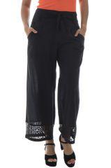 Pantalon noir pour femme Elégant et Original à dentelle Maxence 295050