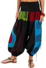 Pantalon noir pour femme ethnique et coloré Kinkala 313980